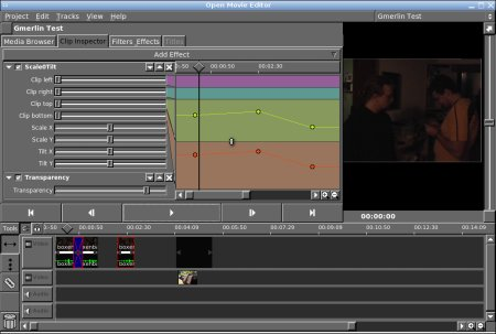 Screenshot of Open Movie Editor (modified)